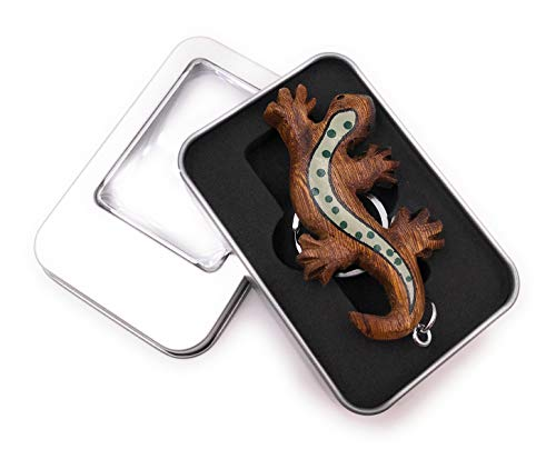 Onwomania Schlüsselanhänger Holz Eidechse Echse Reptil gepunktet Taxon Kriechtier Anhänger in Geschenkbox