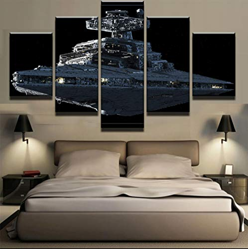 Yyjyxd 5Pieces Set Star Wars Imperial Battleship Star Destroyer Modern Home Wall Decor Canvas Picture Art HD Print Painting Canvas Art-with Frame
