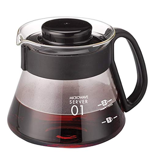YQQ-Cafetière Serveur de café de Gamme Carafe 3600ml 600ml Verser sur la Bouilloire Épaissie par la Chaleur du Verre épaissi