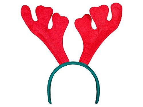 Lot de 12 Serre tête avec bois de renne cerf (wm-19), coloris rouge et vert, Hauteur du motif bois de renne environ 20 cm Convenable aux adultes et aus enfants grace à sa flexibilité, Ce serre-tête ne vous fera pas passer inaperçue pendant ces Fêtes de Noël accessoire idéal pour se déguiser et faire la surprise pour les petits enfants, Haute de Gamme ALSINO