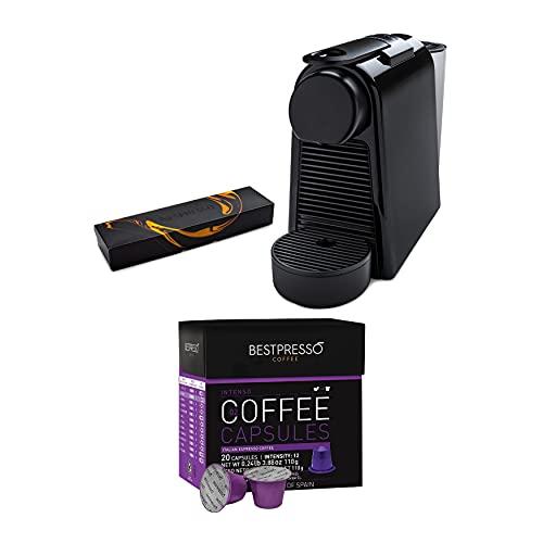 Nespresso Essenza Mini Original by Nespresso (Piano Black) with Extra 20 Coffee Capsules Bundle (4 Items)
