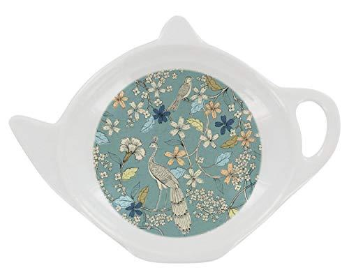 Teebeutelablage aus Melamin, Pfauengarten, 11 cm, Hellblau / Grün