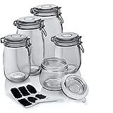 Dimono Juego de 5 tarros de conserva con cierre de asa de alambre; 5 tarros de distintos tamaños para almacenar, conservar y mantener frescos con etiqueta adhesiva para el etiquetado
