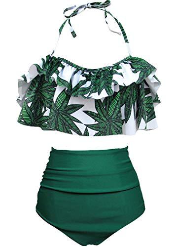 AOQUSSQOA Damen Badeanzug Rüschen Hals Hängen Bikini Sets Zweiteilige Bademode mit Hoher Taille Strandkleidung (EU 34-36 (S),Bambus)