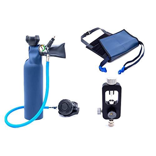 MiniDive Mini Duikfles 0,8 L Blauwe Aluminium Met Vulstation En Holding Harness I Onderwater Ademend Duikmateriaal Unisex