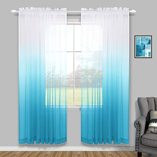 Blue Curtains 84 Inch Length for Living Room 2 Panels Sets Rod Pocket Ombre Sheer Window Panel for Bedroom Girls Baby Nursery Hanukkah Decoration Party Backdrop Decor Gradient Light Blue and White
