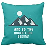 Kissenday 18X18 Inch and So The Adventure Begins Inspirational Quote Cute Travel Saying Cotton Polyester Decorative Home Decor Sofa Couch Desk Chair Bedroom Car Birthday Gift Square Throw Pillow Case
