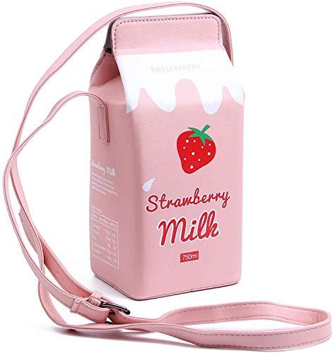 KEHAOX Damen Mädchen Fashion Kunstleder süße Milk Box Crossbody Bag Casual Handy Tasche Schultertasche bedruckt Trinkflasche (Erdbeere)