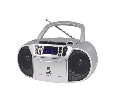 Dual DAB-P 210 Kassettenradio mit CD - DAB(+)/UKW-Radio - Boombox - CD-Player - Stereo Lautsprecher - USB-Anschluss - Aux-Eingang - Netz- / Batteriebetrieb - Tragbar - Silber