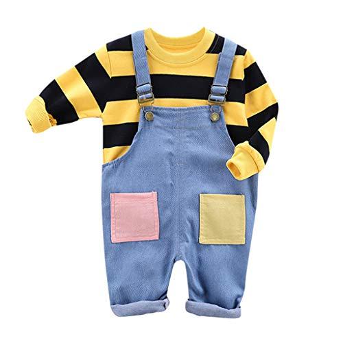 Zegeey Jungen Baby Kleinkind MäDchen Gestreiften T-Shirt Latzhose Tops Blusen HosenträGer Hosen Outfits Set FrüHling Herbst Bekleidungssets Geburtstag Geschenk(Gelb,100-110)