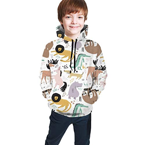 Kids Hooded Sweatshirts 3D Graphic Printed Pullover Hoodies for Boys Girls Colorful Pattern Drawstring Tops Comfort Active Hoodie with Pockets,Color Animals Sloth Crocodile Unicorn,M