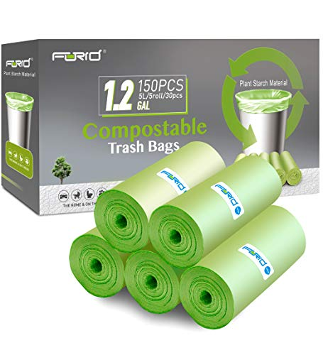 Compostable Trash Bags - FORID 1.2 Gallon Small Garbage Bags 150 Count Mini Strong Trash Can Liners 5 Liter Unscented Wastebasket Bags for Kitchen Bathroom Office Home Garbage Can (5 Rolls/Green)