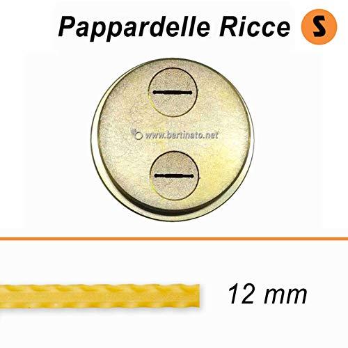 Accessorio Trafila in bronzo formato Pappardelle Ricce Reginette Mafalde per macchina per la pasta fresca La Fattorina 1,5kg compatibile con FIMAR MPF 1,5 (Larghezza Pappardelle 12mm)