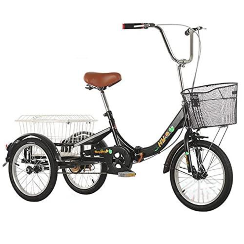 SN Personas Mayores Adulto Triciclo Plegable Bicicleta De Crucero 3 Ruedas con Cestas Traseras Delanteras Hombres Mujer Picnics & Compras 16 Pulgadas (Color : Black)
