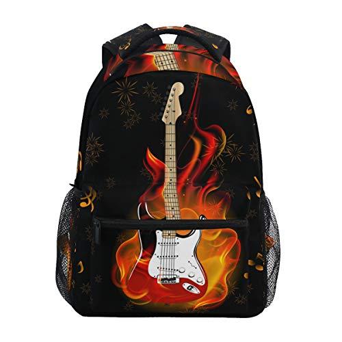 Irud Rucksack mit Musiknote, brennende Gitarre, Feuerwerk, Rucksack, Schultasche, Reise, Outdoor, Freizeit-Rucksack, Wandern für Jungen und Mädchen