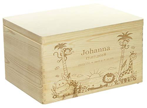 Holzkiste mit Gravur - Personalisiert mit ❤️ GEBURTSDATEN ❤️ - Naturbelassen, Größe XL - Dschungel Motiv - Erinnerungskiste als Geschenk zur Geburt - LAUBLUST®