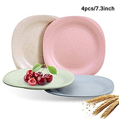 "Wheat Straw Plastic Plates Dinnerware Set/Reusable-Unbreakable Dinner Plate/Eco Friendly-Dishwasher & Microwave Safe, BPA Free And Healthy Cereal Dishes/Kids-toddler & Adult (Square 7.3"" x 4pc)"