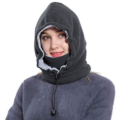 Ski Face Mask Women Men Balaclava Fleece Hood Winter Face Mask Head Warmer(Grey)
