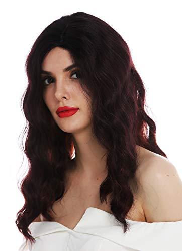 WIG ME UP - VK-58-OMFIRERED Peluca para mujeres larga raya ondas elegantes ondulada negra roja teñida Hollywood diva