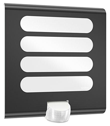 Steinel Sensor-Außenleuchte L 224 LED anthrazit-quadratische Leuchte mit 180° Bewegungsmelder und maximal 10 m Reichweite, UV-beständiger Kunststoff und Edelstahlblende, Integriert