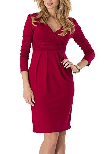 Vestito Manica Lunga Abito Donna Elegante con Scollo a V Sexy Cocktail Curvy Abiti da Sera Vestiti Fashion (Vino Rosso, M)