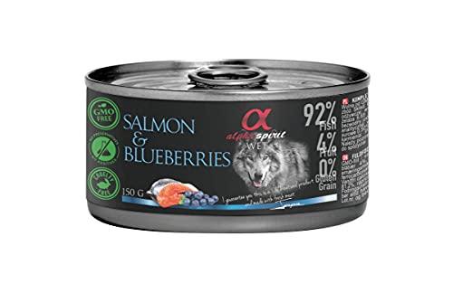 ALPHA Spirit Canine Adult Salmon Y ARANDANOS Lata 12X150GR, Negro, Mediano