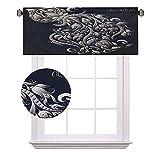 Zodiac - Cenefas cortas con diseño victoriano inspirado en símbolo real flores para acuario icono retro imagen de arte, ahorro de energía para cortinas de baño, ancho 122 x largo 18 pulgadas