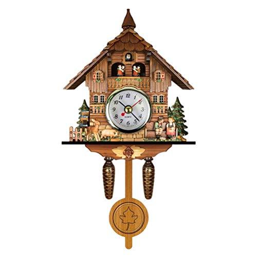 Yuanqu Reloj de Cuco Antiguo de Madera Cuco Birdhouse Reloj de Pared decoración del hogar Reloj de Cuco Colgante Auto Swing Bell Péndulo Decoración del hogar