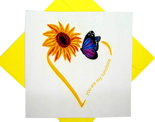 You are my sunshine, Quilling Card 3D - Unique Dedicated Handmade, Design Greeting Card for Birthday, Valentine's Day, Mothers Day, Spring, Fathers Day, Graduation, Wedding, Anniversary, Thank You, Get Well, All Occasion | 6' x 6'