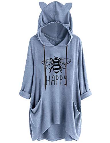 Dresswel Damen Bee Happy Hoodie Kapuzenpullover Biene Sweatshirt Sweaterkleid Katzen Pullover mit Tasche Rundhal Langarmshirt Oberteile für Mädchen und Teenager