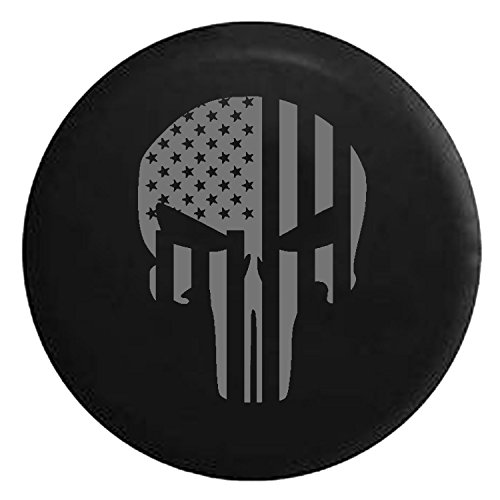 American Flag Tactical Stars & Stripes Punisher Skull Spare Tire Cover fits SUV Camper RV Accessories Gray Ink 33 in