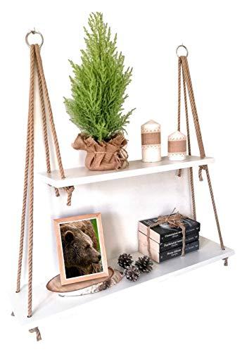 Holz Hängendes Regal Weiß mit Seil - Wandregal Wandschaukel Schweberegale - Aufhängen Holzregal Wand - Wanddekoration Hängeregal mit Jute Seil (2 Tier)