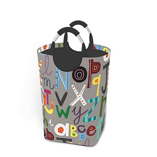 ZCHW Cesto de lavandería con Dibujos Animados encantadores con Letras inglesas Impresas, cesto de lavandería con Asas, Cesta organizadora, cesto de lavandería, cestas de Juguete 50L