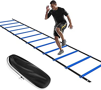 KIKILIVE Agility Ladder, Speed Agility Training Kit, Footwork Equipment 12 Rung 20ft with Carrying Bag for Sports Soccer, Football, Exercise Fitness