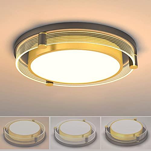 sgvaga Moderna lámpara LED de techo para salón, regulable con mando a distancia, estilo lujoso, lámpara de techo LED redonda de metal para salón, dormitorio, comedor (45 cm/36 W)