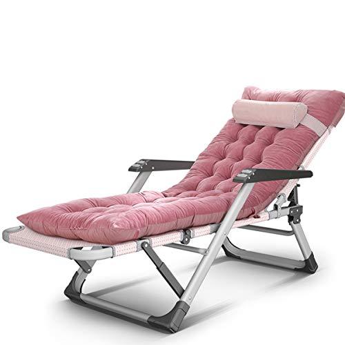 Sillón plegable para jardín – cómodo sofá plegable con gravedad cero con soportes para tazas y cojines, tumbona reclinable al aire libre para jardín, patio, piscina, soporte 200 kg azul (color rosa) a