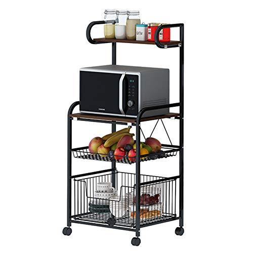 Magnetron Rekstandaard, Multifunctionele Magnetron plank, 4 Tier Keuken Plankhouder met Wielen voor Ovens/Servies/Groente/Fruit, Zwart - 50x37x110 cm