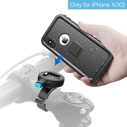 Cozycase Handyhalterung Fahrrad mit iPhone X/XS wasserdichte Hülle, stabile Motorrad Handyhalterung aus Metall, nur kompatibel mit iPhone X/XS (5,8