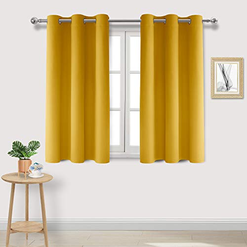 DWCN Yellow Blackout Curtains Room Darkening Grommet Thermal Insulated Light Blocking W 38 x L 45 Inch Length Curtain Panels for Bedroom Living Room, Set of 2 Thick Panels