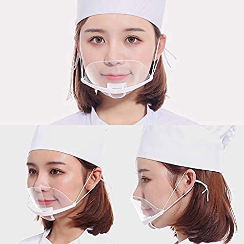 10pcs Transparent Anti-Fog Spray Saliva Chef Spit Mouth Shield Food Protective Mouth Cover Plastic Face Shield for Hotel Kitchen Restaurant