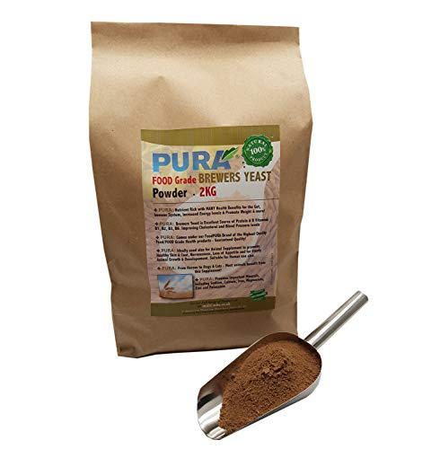 FoodPURA Brewers Yeast Powder 2KG - use with Horses, Ponies Vitamin B, E & H for Pets and Animals - For Healthy Skin and Coats - also Human FOOD Grade!
