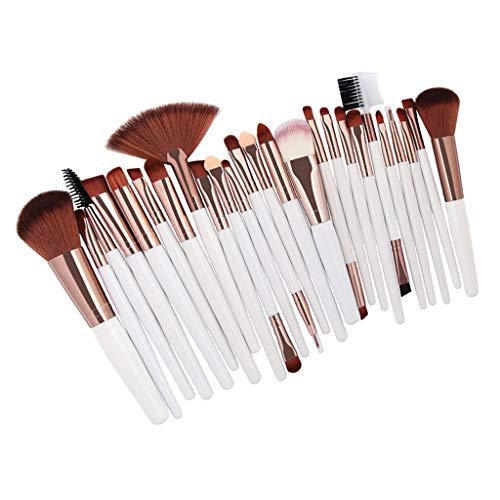 25pcs Pinceau Fond de Teint Professionnel pour Maquillage du Visage - Parfait Pour Mélange Liquide, Crème ou Poudre Cosmétique - Café au lait