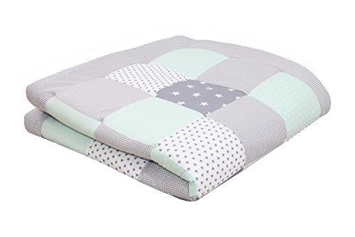 ULLENBOOM ® Baby Krabbeldecke 140x140 cm gepolstert Mint Grau (Made in EU) - Krabbeldecke für Baby mit 100% ÖkoTex Baumwolle, ideal als Babydecke & Spieldecke
