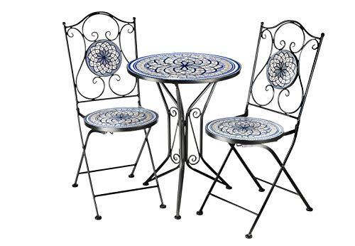 Kobolo Sitzgruppe Gartenmöbel Mosaikoptik - 1 Tisch - 2 Stühle - Metall - blau-weiß
