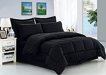 Elegant Comfort Wrinkle Resistant - Silky Soft Dobby Stripe Bed-in-a-Bag 8-Piece Comforter Set - Full/Queen Black