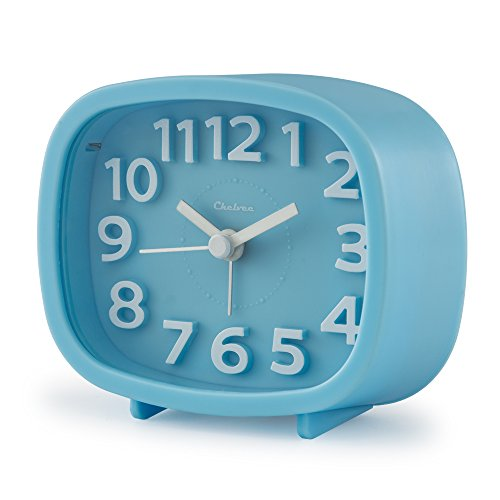 "Chelvee Alarm Clock, 3"" Quartz Analog Alarm Clock with Night Light, Ultra Small, Silent with No Ticking (Blue)"