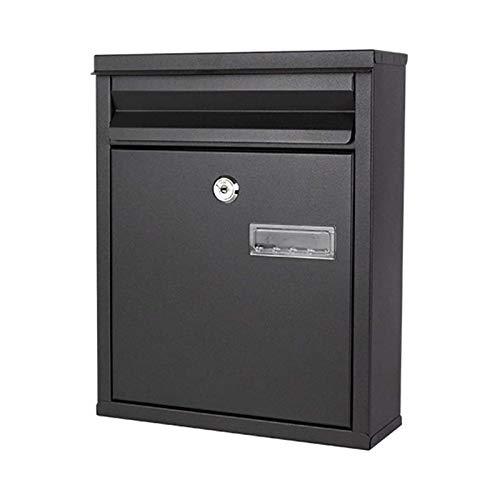 ZZYE Postfach/Briefkasten Wand montiert vertikal, verzinktes Metall abschließbarer wetterfester Postfach für Home Office Indoor/Outdoor 24x8x30cm Briefkasten (Color : Black)