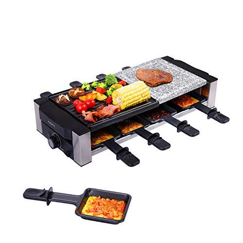 AONI Raclette Grill - Parrilla eléctrica de interior coreana para barbacoa, parrilla 2 en 1 antiadherente y piedra de cocción, ideal para fiestas con 8 sartenes para derretir queso (1200 W)