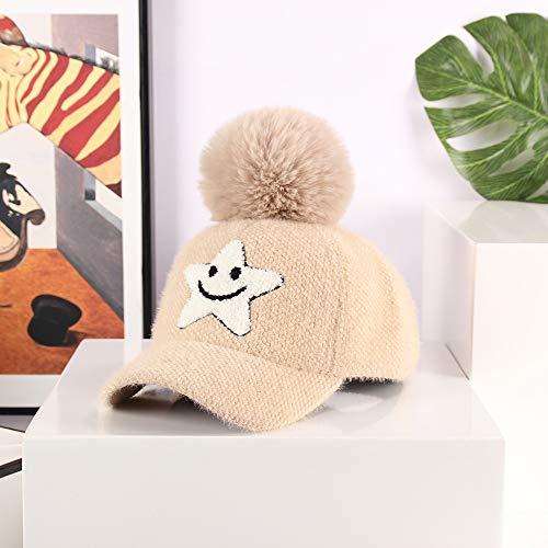 wtnhz Artículos de Moda Invierno cálido hurón Polar Gorra de béisbol para niños Gorra de Estrella de Cinco Puntas Sonriente de Dibujos Animados Coreanos con Bola de pielRegalo de Vacaciones