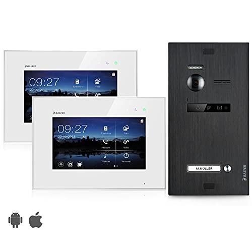 BALTER EVO Video Türsprechanlage ✓ Touchscreen 7 Zoll Monitor ✓ 2-Draht BUS ✓ Türstation für 1 Familienhaus Türklingel ✓ 150° Weitwinkel-Kamera ✓ Schwarz (2 Monitore, Mit App)